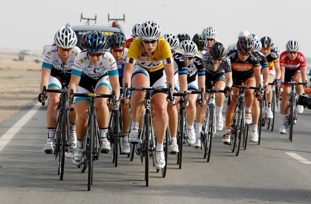 Chloe leads the peloton in the second stage of the Ladies Tour of Qatar