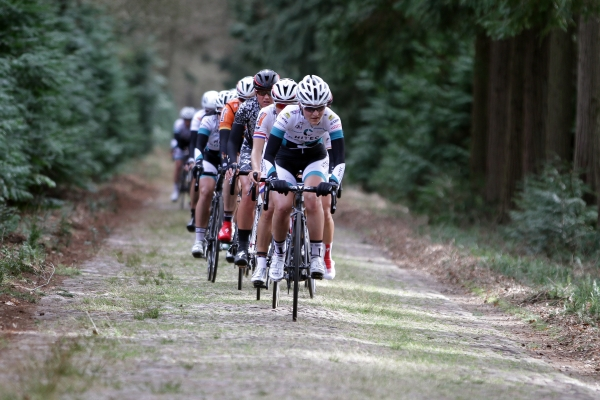 My teammate Elisa Longo Borghini leads the peloton on the second cobbled section. Photo credit: Sportfoto.nl