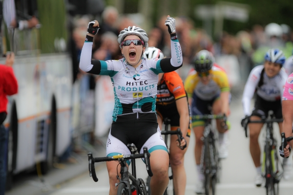 That feels good. Chloe crosses the line first ahead of Kirsten Wild and Ellen van Dijk. Photo credit: sportfoto.nl