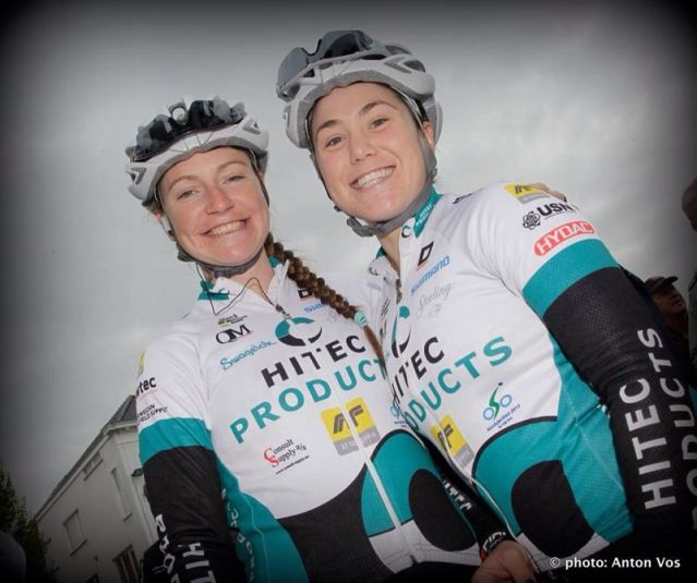 Lauren and I before the start of Ronde van Vlaanderen. ©Anton Vos