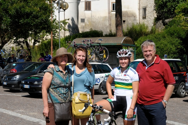 My biggest supporters, my family and I at the 2009 Giro Rosa. L-R: My mum Sheryn, my sister Chelsea, me, and my Dad Steven.