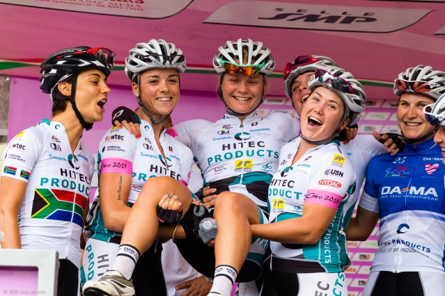 My Hitec Products team celebrated two birthdays during the Giro Rosa. Here we sing 'Happy Birthday' to Emilie Moberg. © Wei Yuet Wong
