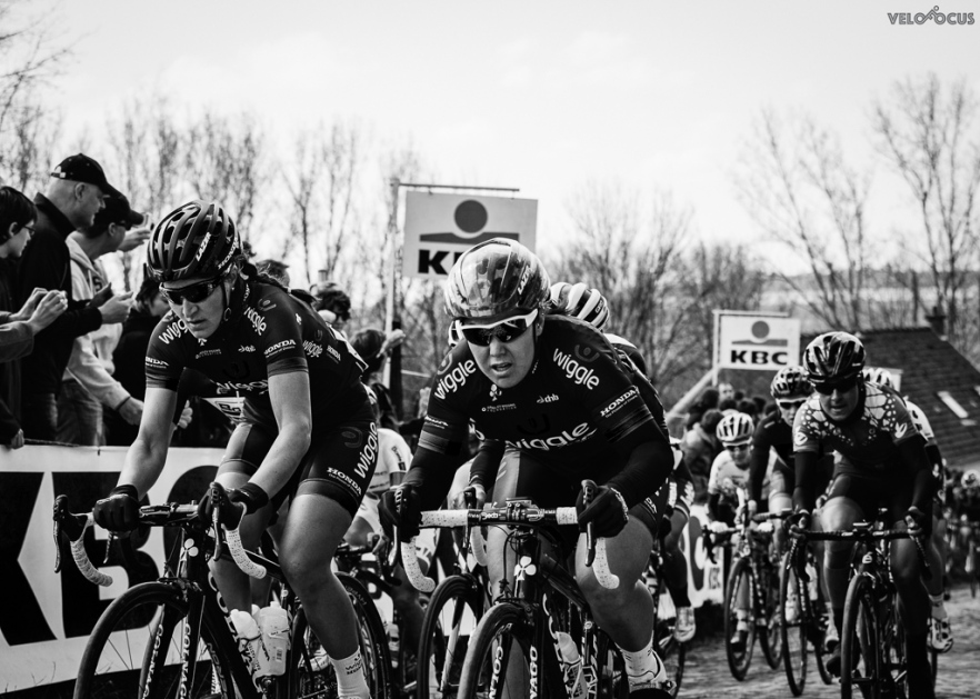 Elisa and I lead the peloton over the Molenberg. Make sure you check our the great photo gallery over on Velofocus. © velofocus.