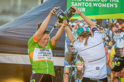 Champagne showers. Hosking celebrates her overall points classification win with the young rider winner, Alexis Ryan (Canyon SRAM). Photo credit Santos Women's Tour / Chameleon Photography.
